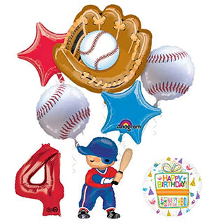 Baseball Player 4th Birthday Party Supplies Balloon Bouquet Decorations