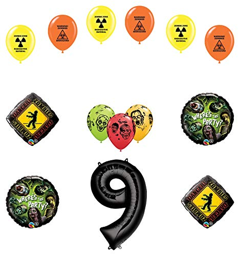 Mayflower Products Zombies 9th Birthday Party Supplies Walking Dead Balloon Bouquet Decorations