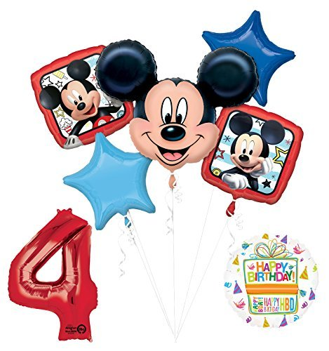 NEW Mickey Mouse 4th Birthday Party Supplies Balloon Bouquet Decorations