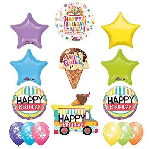 ULTIMATE Sugar Cone Birthday Party Supplies Decoration Balloon Kit with Ice Cream Treat