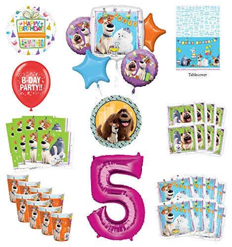 Secret Life of Pets 5th Birthday Party Supplies 8 Guest kit and Balloon Bouquet Decorations - Pink Number 5