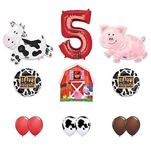 Barn Farm Animals 5th Birthday Party Supplies Cow, Pig, Barn Balloon Decorations