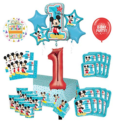 Mayflower Products Mickey Mouse 1st Birthday Party Supplies 8 Guest Decoration Kit and Balloon Bouquet