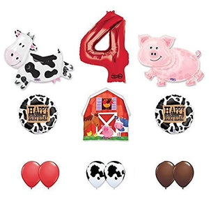Barn Farm Animals 4th Birthday Party Supplies Cow, Pig, Barn Balloon Decorations