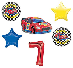 Race Car Theme 7th Birthday Party Supplies Stock Car Balloon Bouquet Decorations