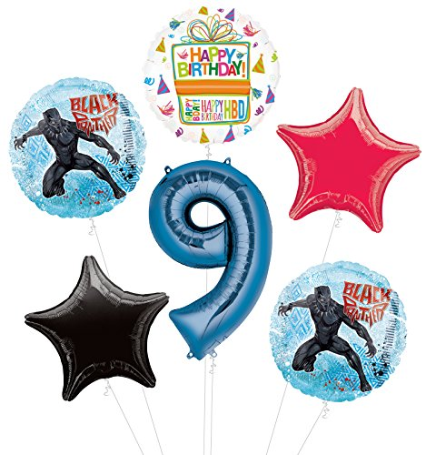 Black Panther 9th Birthday Party Supplies Balloon Bouquet Decorations