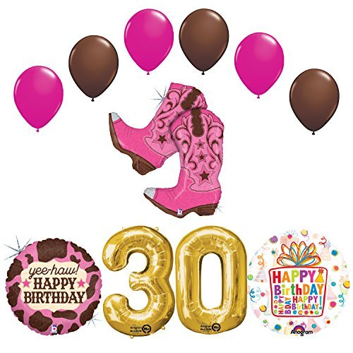 Wild West Cowgirl Boots Western 30th Birthday Party Supplies and Balloons Decorations