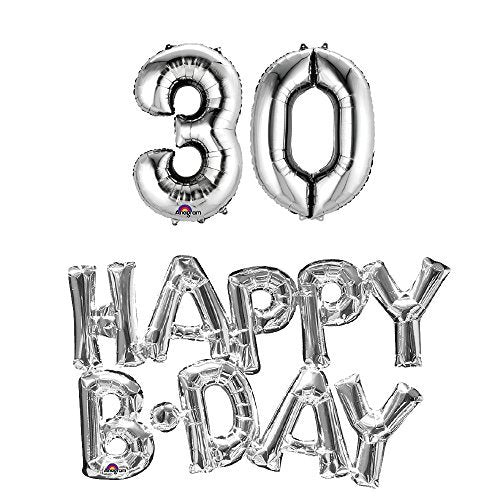 30th birthday party balloons supplies and decorations in silver