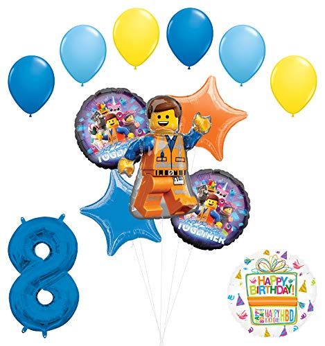 LEGO Movie Party Supplies 8th Birthday Balloon Bouquet Decorations