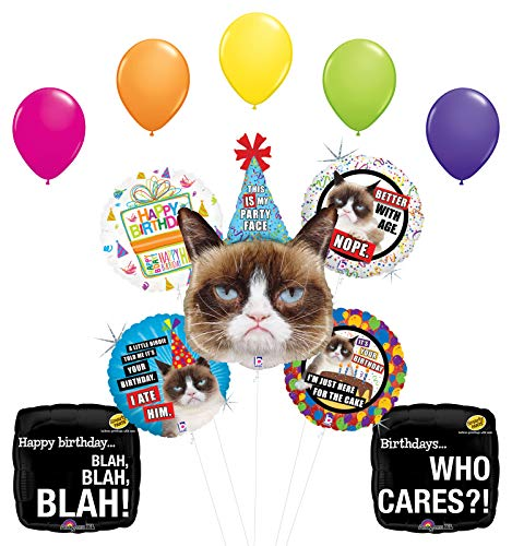 "Grumpy Cat Party Face Birthday Party Supplies Blah Blah Blah Balloon Bouquet Decorations with (5) 11"" Latex"