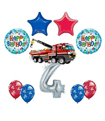 10 pc LEGO CITY Fire Engine Firetruck 4th Birthday Fire TruckParty Balloon Decorating Supply Kit