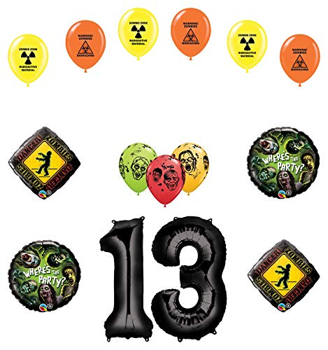 Mayflower Products Zombies 13th Birthday Party Supplies Walking Dead Balloon Bouquet Decorations