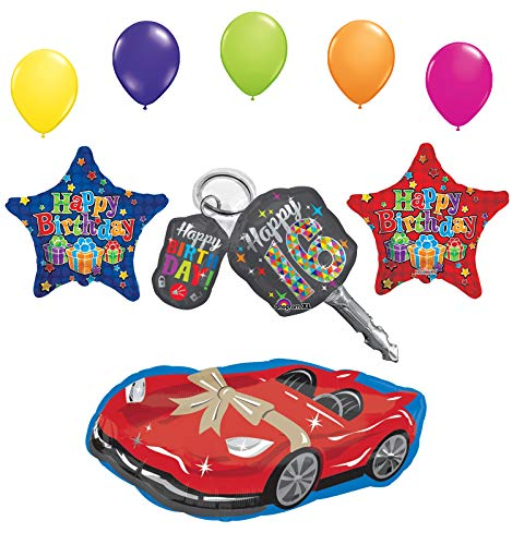 Sweet 16 Birthday Party Supplies Balloon Bouquet Car Keys and Sports Car Decorations