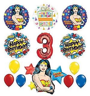 Mayflower Products Wonder Woman 3rd Birthday Party Supplies and Balloon Decorations
