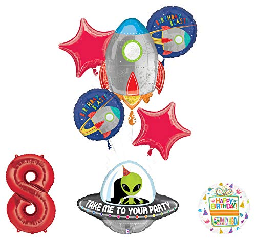 Mayflower Products Blast Off Space Alien 8th Birthday Party Supplies Balloon Bouquet Decoration