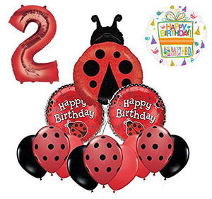 Mayflower Products Ladybug 2nd Birthday Party Supplies Balloon Bouquet Decoration
