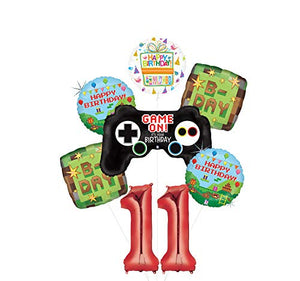 Video Game 11th Birthday Party Supplies Miner Pixelated TNT Minecraft-Inspired Balloon Bouquet Decorations