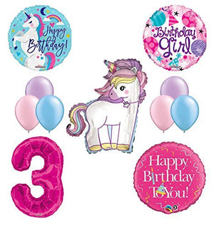 Unicorn 3rd Birthday Girl Party Supplies and Balloon Decorations