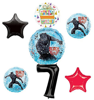 Black Panther Party Supplies 7th Birthday Balloon Bouquet Decorations