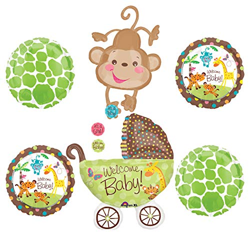 Jungle Safari Welcome Baby Shower Party Supplies Buggy and Monkey Balloon Bouquet Decorations
