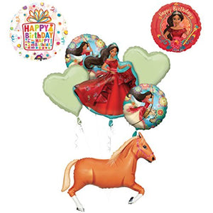 "ELENA OF AVALOR Happy Birthday Party Supplies Balloons Decoration kit with 43"" Tan Horse foil"