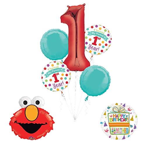 "Sesame Street Elmo ""I Survived My Parents First Year"" 1st Birthday Party Supplies and Balloon Decorations"