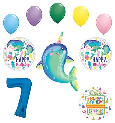 Mayflower Products Narwhal Party Supplies 7th Birthday Mermaid Balloon Bouquet Decorations