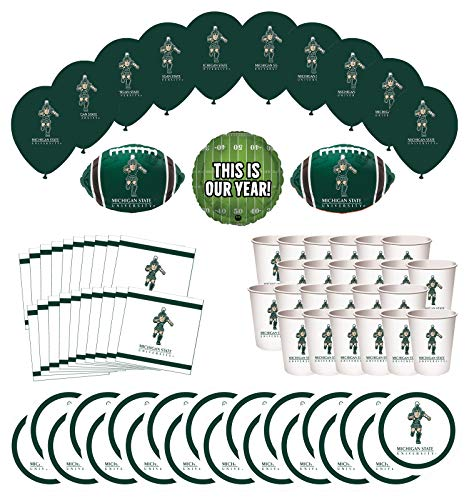 Mayflower Products Michigan State Spartans Football Tailgating Party Supplies for 20 Guest and Balloon Bouquet Decorations