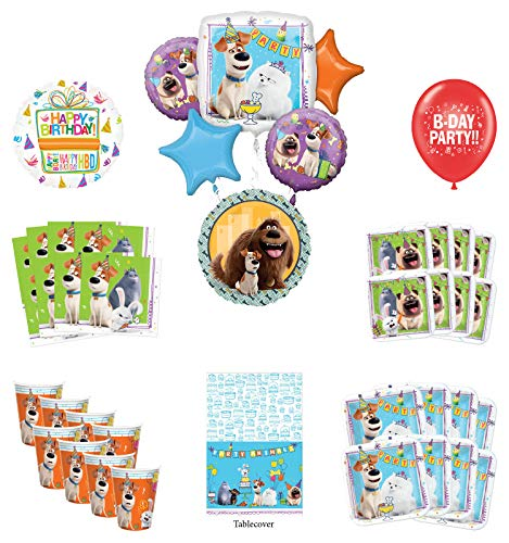 Secret Life of Pets Birthday Party Supplies 8 Guest kit and Balloon Bouquet Decorations