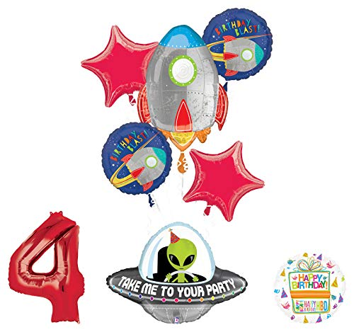 Mayflower Products Blast Off Space Alien 4th Birthday Party Supplies Balloon Bouquet Decoration
