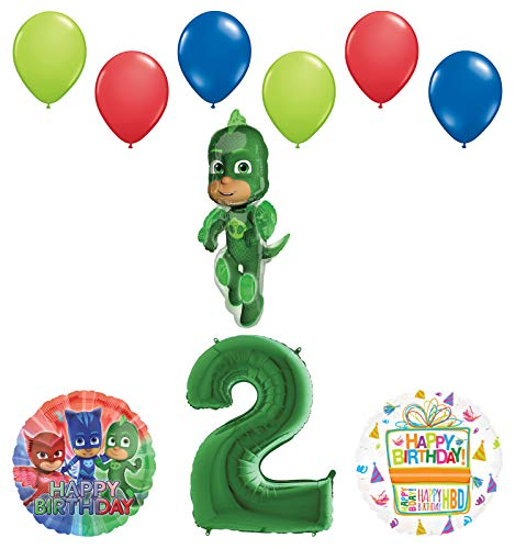 Mayflower Products PJ Masks Gekko 2nd Birthday Party Supplies Balloon Bouquet Decorations
