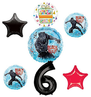 Black Panther Party Supplies 6th Birthday Balloon Bouquet Decorations