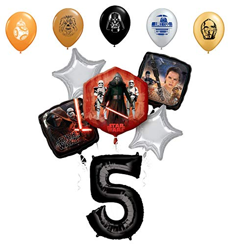"Star Wars 5th Birthday Party Supplies Foil Balloon Bouquet Decorations with 5pc Star Wars 11"" Character Print Latex Balloons Chewbacca, Darth Vader, C3PO, R2D2 and BB8"