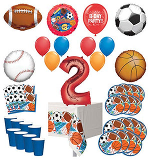 Mayflower Products Sports Theme 2nd Birthday Party Supplies 8 Guest Entertainment kit and Balloon Bouquet Decorations - Red Number 2