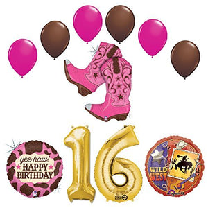 Wild Wild West Sweet 16th Cowgirl Boots Birthday Party Supplies and Balloons Decorations