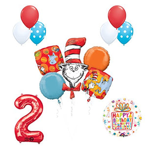 13 pc Dr Seuss Cat in the Hat 2nd Birthday Party Balloon Supplies and Decorations