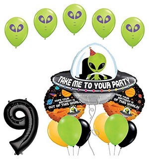 Space Alien 9th Birthday Party Supplies Balloon Bouquet Decorations