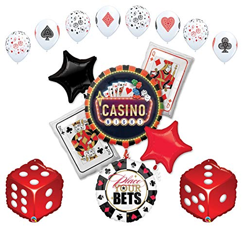 Mayflower Products Casino Night Party Supplies Cards and Dice Balloon Bouquet Decorations