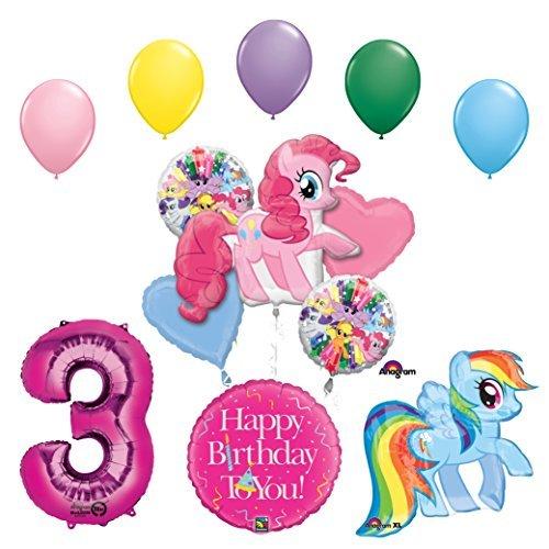 My Little Pony Pinkie Pie and Rainbow Dash 3rd Birthday Party Supplies and Balloon Decorations
