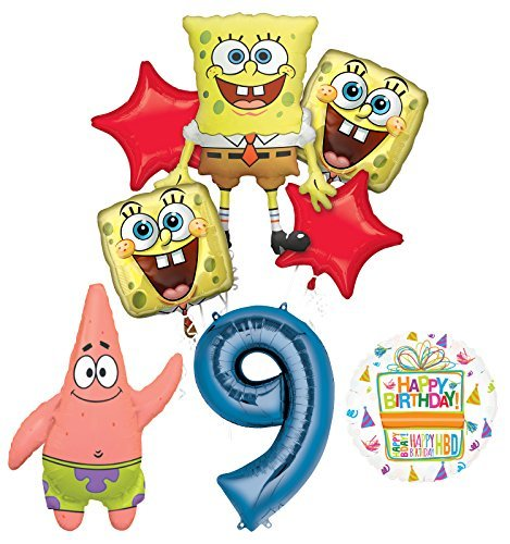 Spongebob Squarepants 9th Birthday Party Supplies and Balloon Bouquet Decorations