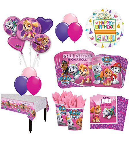The Ultimate 8 Guest 53pc Paw Patrol Girls Skye and Everest Birthday Party Supplies and Balloon Decoration Kit