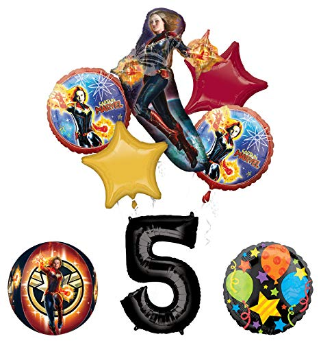 Mayflower Products Captain Marvel 5thBirthday Party Supplies Jubilee and Orbz Balloon Bouquet Decorations