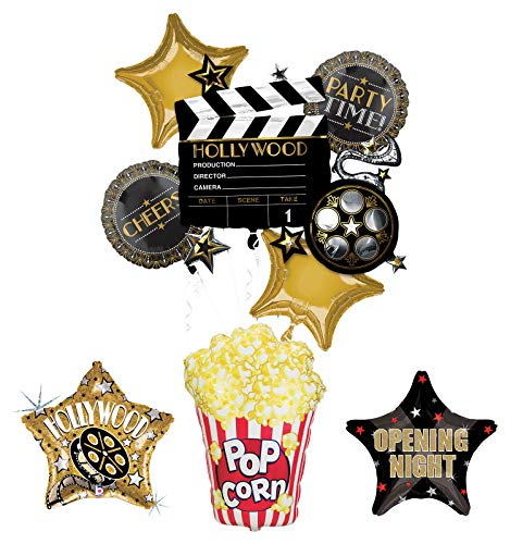 Movie Night Party Supplies Balloon Bouquet Decorations Hollywood Film Clapper and Popcorn