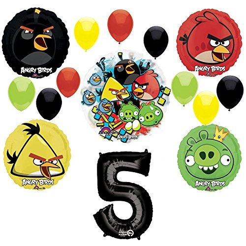 Angry Birds 5th Birthday Party Supplies and Group See-Thru Balloon Decorations