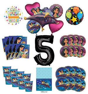 Mayflower Products Aladdin and Princess Jasmine 5t Birthday Party Supplies 8 Guest Decoration Kit and Balloon Bouquet - Black Number 5