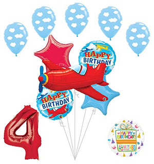 Airplane 4th Birthday Party Supplies Vintage Plane Balloon Bouquet Decorations