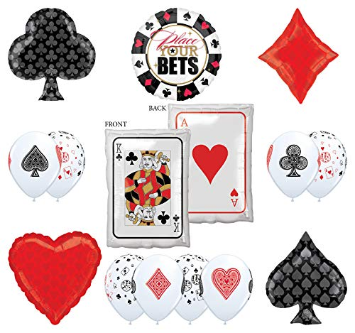 Mayflower Products Casino Night Party Supplies 14pc Ace King Place Your Bet Balloon Bouquet Decorations