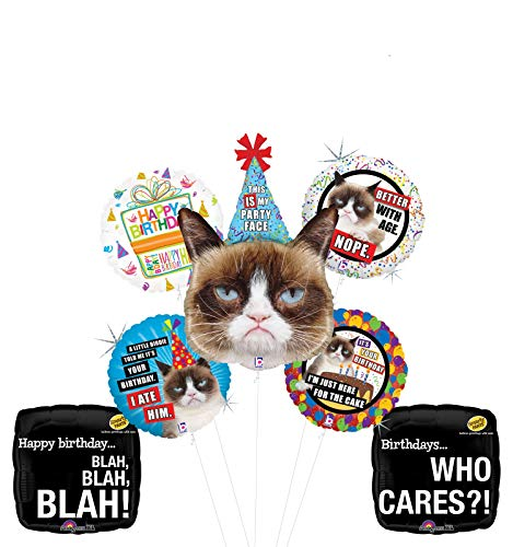 Grumpy Cat Party Face Birthday Party Supplies Blah Blah Blah Balloon Bouquet Decorations