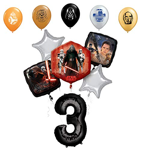 "Star Wars 3rd Birthday Party Supplies Foil Balloon Bouquet Decorations with 5pc Star Wars 11"" Character Print Latex Balloons Chewbacca, Darth Vader, C3PO, R2D2 and BB8"