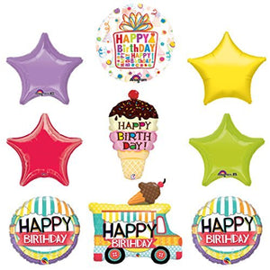 Ice Cream Cone Sprinkles Birthday Party Supplies Decoration Balloon Kit